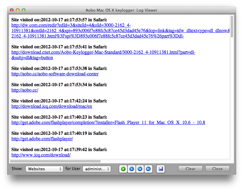 Elite Keylogger for Mac OS X: invisible, tracks passwords